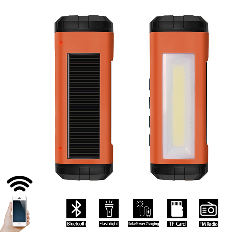 Wireless Solar Bluetooth Speaker With Fm Radio Led Flashlight And Phone Charger