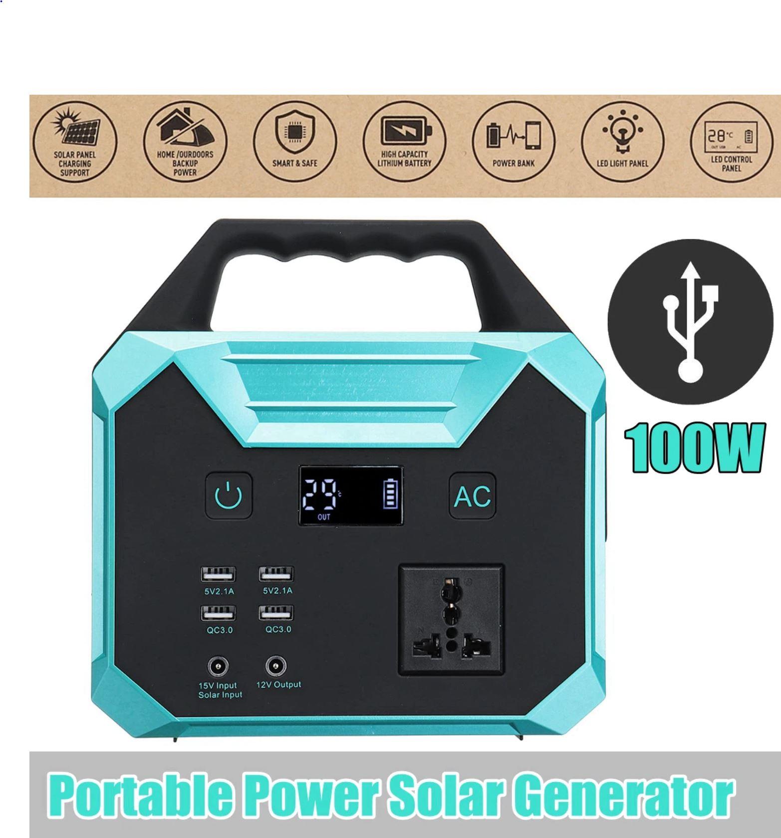 Inverter Portable Solar Generator - Power Supply Energy Power Storage Home  Outdoor Generation EU US 250Wh 100W